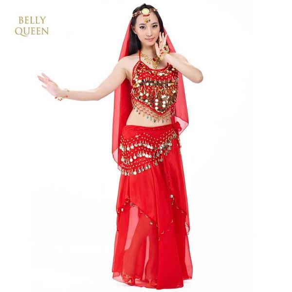 BellyDance Costume de danse Bollywood Set Vêtements Oriental Femme Danse Robe Femmes Sexy Bollydancer Porter 5pcs / set