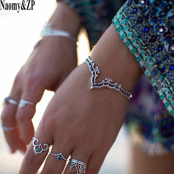 Naomy &Zp Bracelets &Bangles Vintage Indian Hollow Pattern Bangle Bohemian Love Cuff Bracelets For Women Femme Fashion Jewelry
