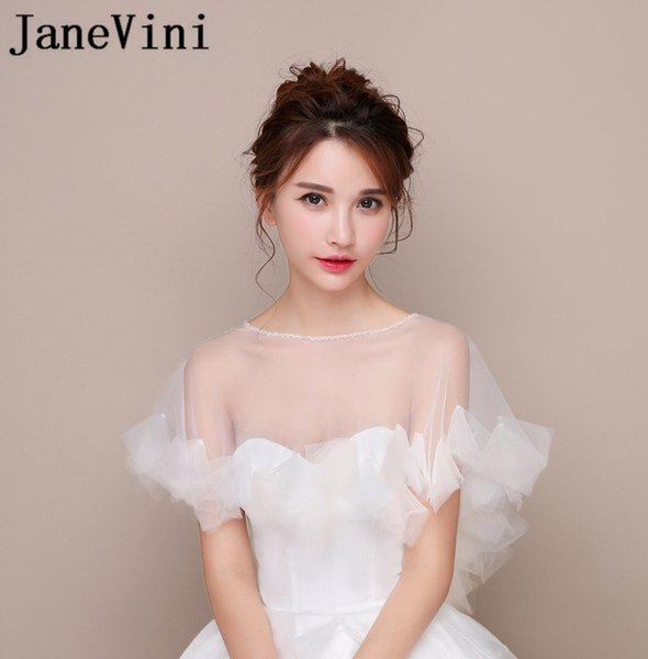 098b791058fe6 2019 JaneVini 2018 Beaded Neck Bridal White Jacket Simple Tulle Women  Wedding Dress Bolero Cape Summer Party Wraps Chaqueta Boda From Everhill,  $25.78 ...