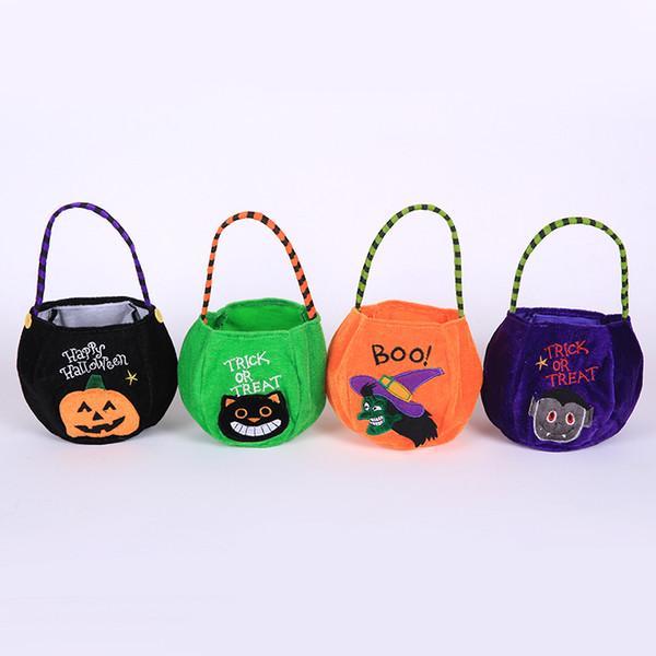 Halloween Pumpkin Bags Hallowmas Sacks Gift Bags Drawstring Candy Bag Tricks Or Treat Printed Halloween Party Favor Organizer 9 Designs