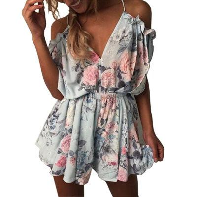 7bfafdc20ba 2018 new Rompers Women Rompers print lace Jumpsuit Summer Short pleated Overalls  Jumpsuit Female chest wrapped strapless Playsuit