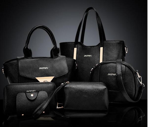 Wholesale-6pcs / set Nuevo 2018 cuero de la PU de la vendimia de las mujeres conjunto de bolsos de moda de moda bolsos de hombro Crossbody Messenger Bags Bolsas 03