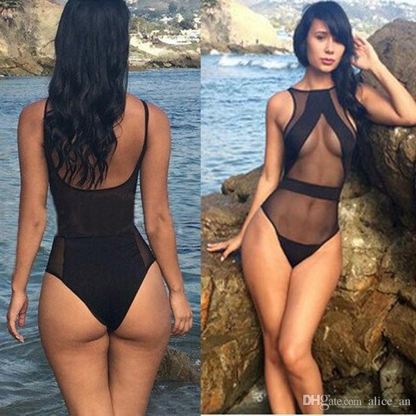 1 UNIDS Verano Sexy Body Mujeres Negro Malla Sheer One Piece Transparente Body Beachwear Mono Monos de Calidad Superior