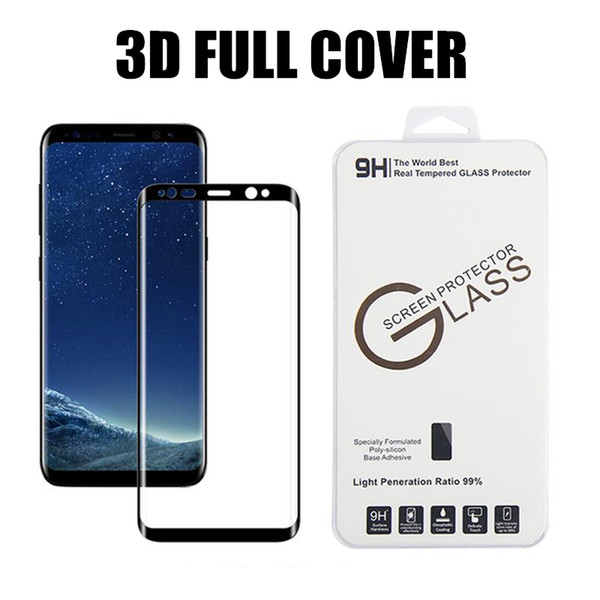 3D curvo protector de vidrio templado para Samsung S8 S9 Nota 8 S6 S7 edge Plus película de cubierta de pantalla de superficie completa con paquete al por menor