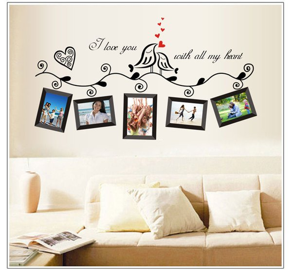 vinyl photo frame family quotes wall stickers living room decor home decals art posters adesivos de paredes