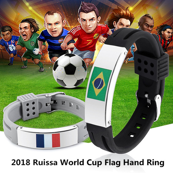 Silicone Flags Bracelet Hand Ring Wrist Strap World Cup Flags 32 Countries Flag Bracelets Football Souvenirs Wristband Adjustable