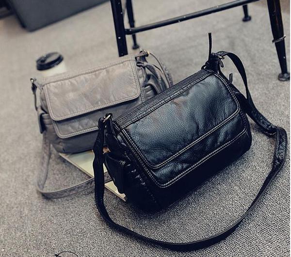 Moda kadın küçük çanta yumuşak deri rahat omuz messenger küçük çanta kadın çanta siyah / gri j-895