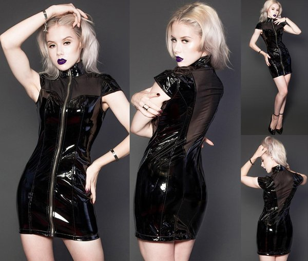 Sexy Women Shiny Faux Leather Clubwear Mock Neck Short Sleeve Mini Dress Gothic Black PVC Wetlook Catsuit Night Club Dance Wear