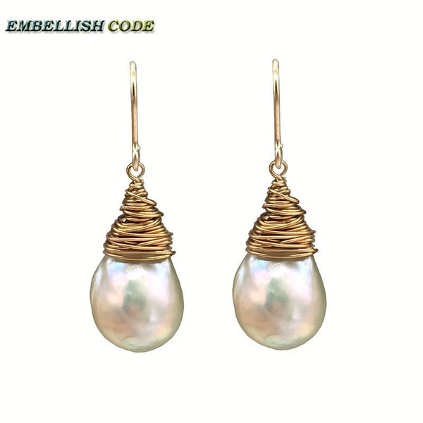 NEW 2018 hand made pearls Golden plated hook dangle earring baroque pearl fire ball stely tear drop shape white with gold color C18111901