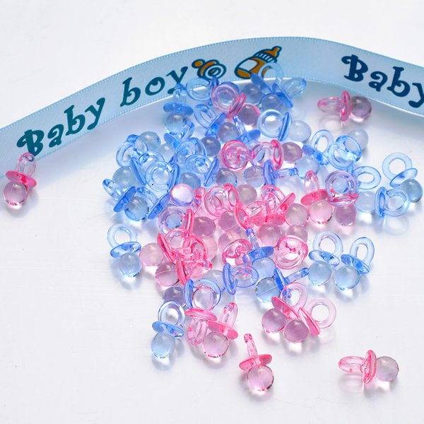 50pcs / lot di plastica in plastica trasparente Baby Shower favori Mini ciucci Ragazza Boy Game Party Birthday Party Love Table Confetti Decori