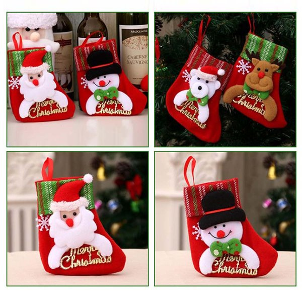 Happy New Year Year Merry Christmas Gift Christmas Stocking Mini Sock Santa Claus Candy Gift Bag Xmas Tree Hanging Decoration
