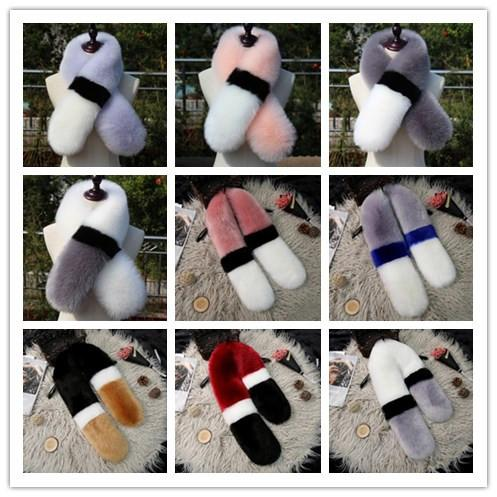 Wholesale Winter Fashion Fur Scarf 13 Design Warm Collar Women Shawl Wraps 10*100cm Neckerchief Pashmina Faux Fox Fur Stoles Patchwork