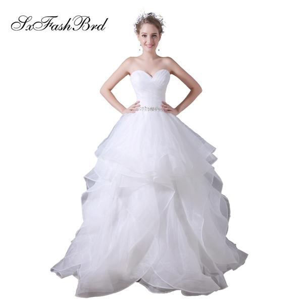 compre elegante vestido de novia con volantes una línea de organza