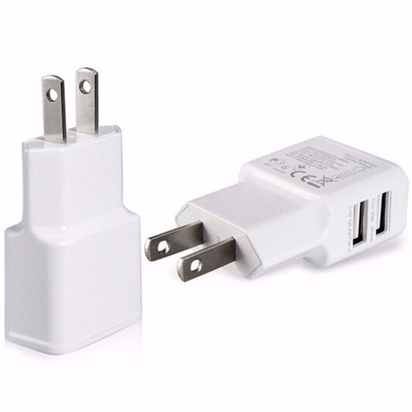 New Universal Wall Travel Power Charger US EU Plug Dual USB Charger Adapter White