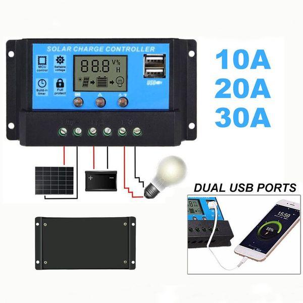 Connecteurs automatiques intelligents automatiques 10A / 20A / 30A 12V-24V d'affichage à cristaux liquides d'USB d'affichage à cristaux liquides de contrôleur de régulateur de panneau solaire