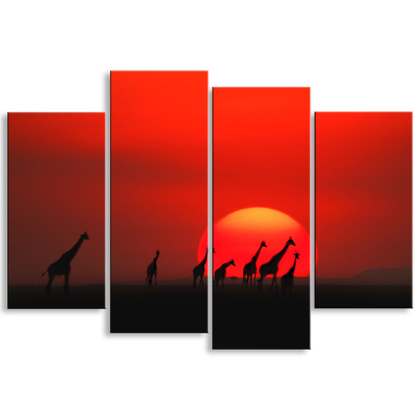 4 pieces high-definition print African landscape canvas oil painting poster and wall art living room picture FZ4-002
