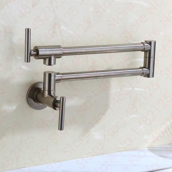 Wall Mount Pot Filler Kitchen Faucet 2016 Wholesale High Quality Brass Extendable Sink Mixer Tap