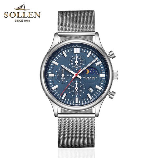 SOLLEN 702 Top  Men's Sports Watch Quartz Watch Calendar Multiple Time Zone Casual Fashion Waterproof