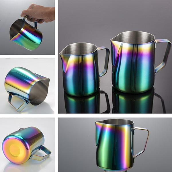 350 ml / 600 ml Pichet de lait moussant Café expresso Barista Craft Coffee Tool Latte Pots de café en acier inoxydable Rainbow Milk T2I322