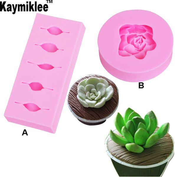 wholesale C207 2PCS Flower Rose Cactus Silicone Mold Candles Handmade Soap Molds Clay Succulent Plants Mold Kitchen Baking Tools
