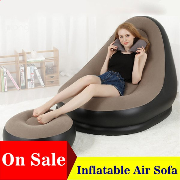Strange 2019 Inflatable Furniture Chair Sofa Lounger With Ottoman Foot Stool Rest Single Couch Beanbag Living Room Outdoor Air Lounge Chairs From Chalecheng Beatyapartments Chair Design Images Beatyapartmentscom