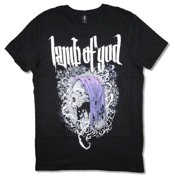Lamb Of God Hooded Skull Schwarzes T-Shirt Neue Offizielle Band Merch Soft Herren T-Shirt Sommer O Hals Baumwolle