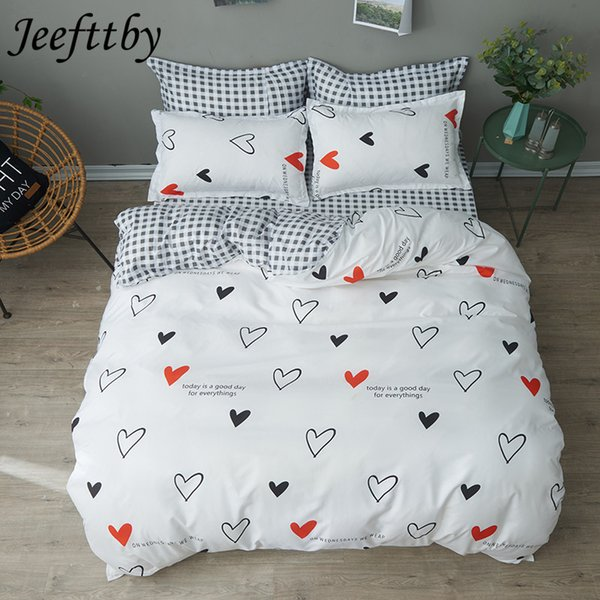 Home Textiles White Heart Black Plaid Bedding Sets Duvet Cover Linens Pillowcases Bed Sheets Full Queen King Size Bedclothes