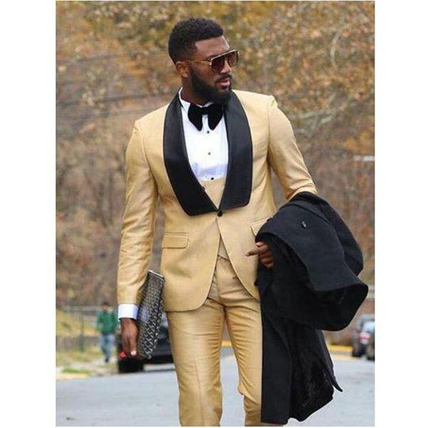 Nuovi uomini di arrivo Abito da sposa Smoking dello sposo Slim Fit Moda Groomsmen Mens Wedding Business Prom Suits (Jacket + Pants + Vest)