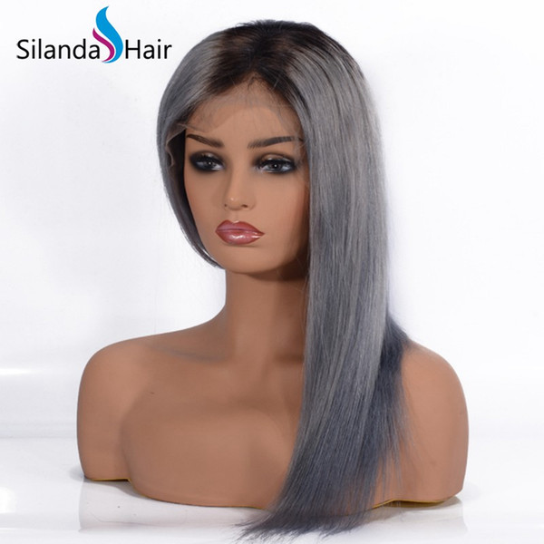 Silanda Hair Fashion Hot Selling Silky Straight Pre Colored #T 1B/Grey Brazilian Remy Lace Front Human Hair Wig For White Laby Free Shipping