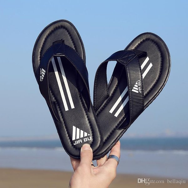 top popular Summer designer slippers 2018 NEW Comfortable Slippers Boy Mixed Colors Stripes Indoor Flip-flops Outdoor Beach Flip-flops Sandals 2019