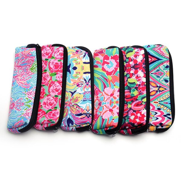 Lilly Makeup Bag Coral Floral Cosmetic Bag Long Size Neoprene Pencial Case With Top Zipper Closure Free Shipping