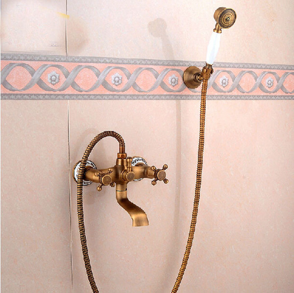 Brass Antique Wall Mount Handheld Bathtub Shower Faucet Set Dual Handles Bathroom Shower Mixer Tap