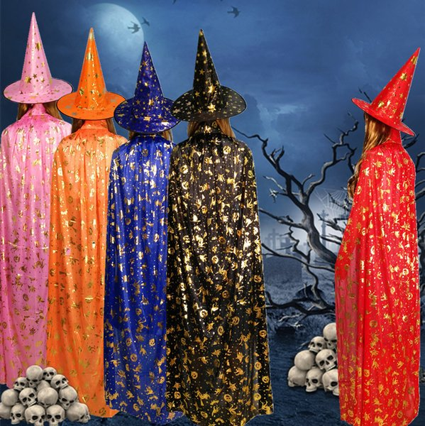 Halloween Robe Hat 2 PCS Adult Kids Cape Party Costumes Witch Wizards Cape Gilding Girl Boy Cartoon Cosplay