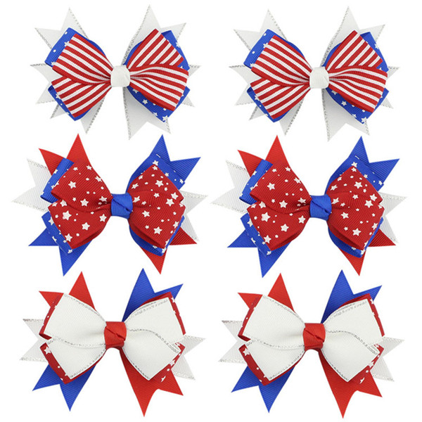 4'' 3 Colors Fancy American Flag Cheer Bow Red Blue White Ribbon Bows with Hair Clips Hair Bows Baby Girls Hair Accessory Supply