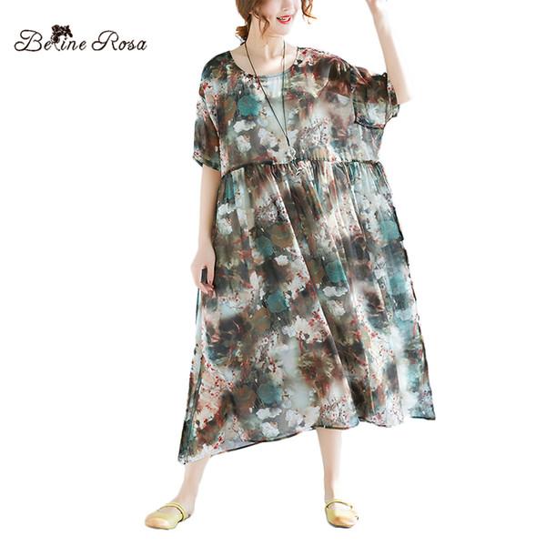 BelineRosa 2018 tallas grandes de las mujeres vestidos de gasa con estampado floral de cintura alta vacaciones sueltas vestido de tallas grandes para mujeres XMR00054