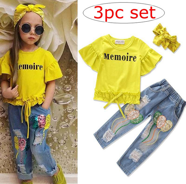 d9f0ce752976 INS new styles summer children s suits pure cotton short sleeves lotus leaf T  shirt + Jeans with holes in sequins + girls headband 3pc sets
