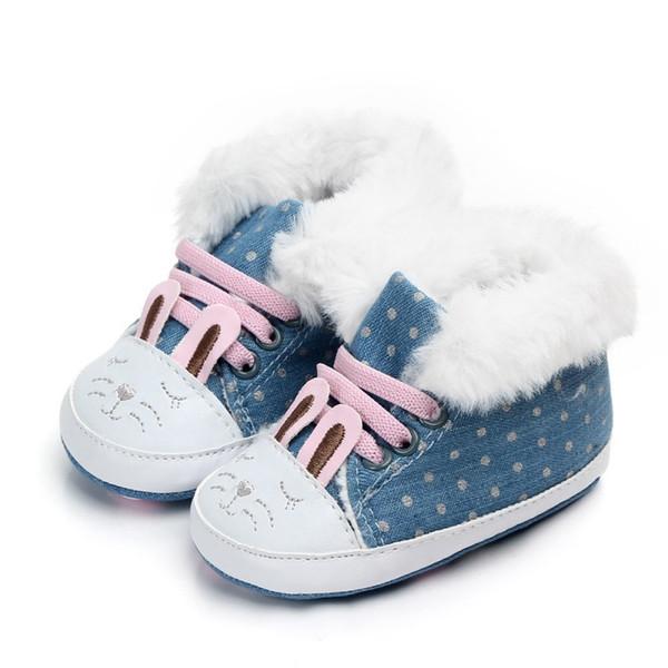 Девочки сапоги зима обувь для новорожденных теплый Dot печати детские снегоступы плюс бархат Детская обувь горячие