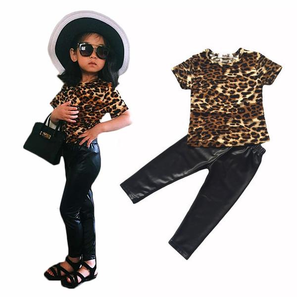 New bebe fashion cool kids girls clothes set Leopard printed T-shirt PU skinny leather pants legging 2 piece seT