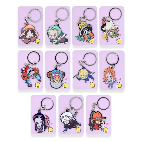 11 styles One Piece Keychain Trafalgar Law Luffy Key Chain Hot Sale Custom made Anime Key Ring PSS261-270