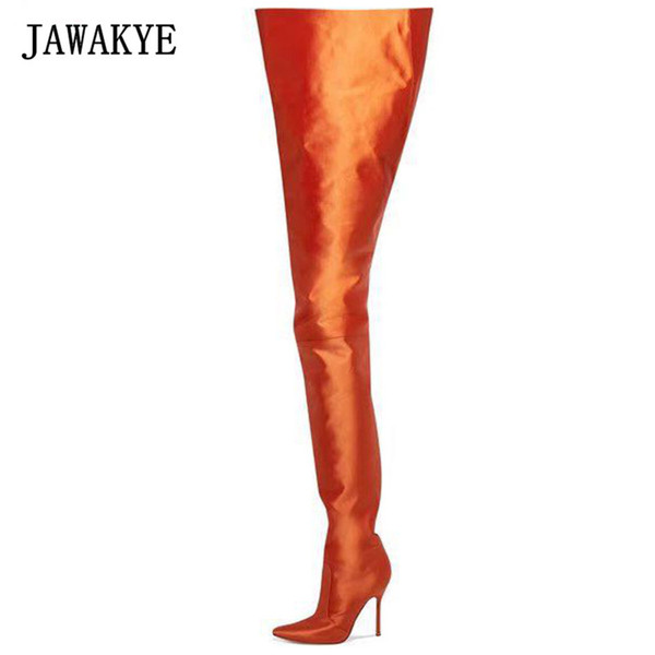 classic styles reasonable price limited quantity JAWAKYE Street Fashion Fluorescent Orange High Waist Over The Knee Boots  Women Sexy Satin Popular Trendy Thigh High Boots Winter Boots Over The Knee  ...