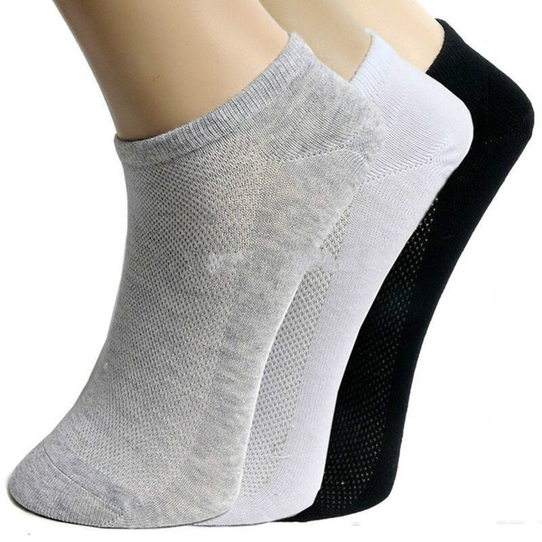 top popular Wholesale-Socks Brand NewHot Fashion men's socks Summer Cool Breathable Mesh Design short ankle socks classic white gray black 2019