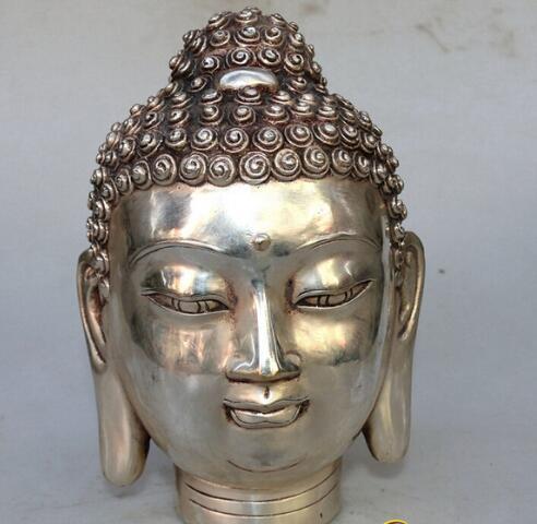 Bir Feng Shui bronz Buda kafa süsler süsler bakır Cupronickel süsler antika el sanatları antika koleksiyonu