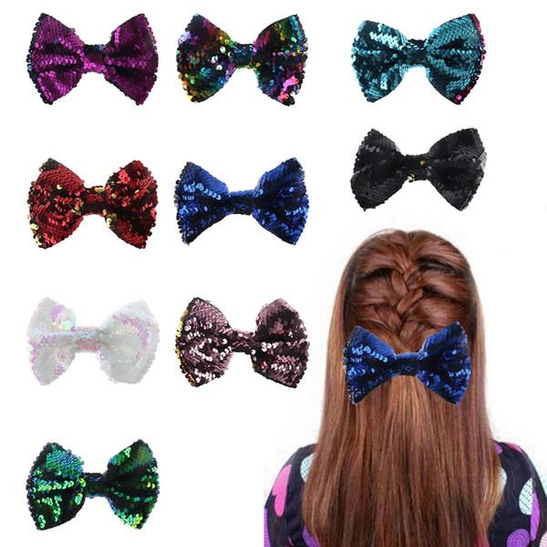 Nuovo arrivo 2018 Bambino Hairbin Ragazze clip di capelli Bowknot Glow Paillettes Carino Principessa Accessori per bambini Boutique chele di capelli