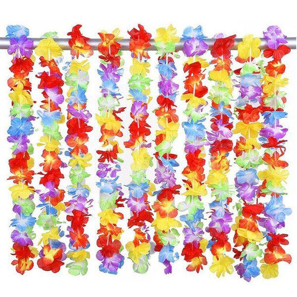 10pcs Hawaiian artificial Flowers leis Garland Necklace Fancy Dress Party Hawaii Beach Fun Flowers DIY Party Beach Decoration