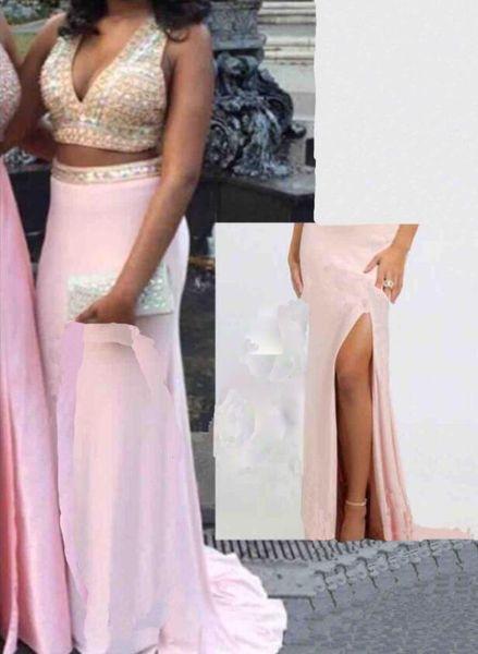 Fast Shipping Halter neck 2018 Vestidos de Noiva Fiesta A Line Two Pieces Evening Long Dresses Robe de Soiree Prom Gowns