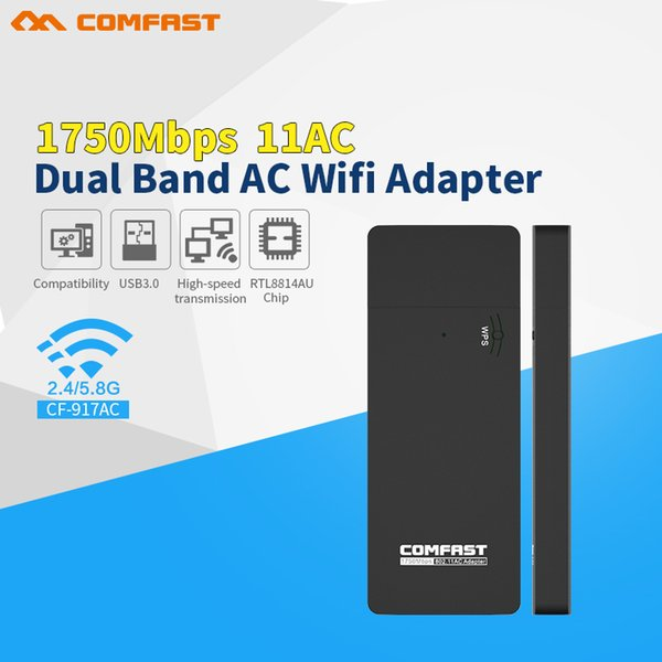 Hot sale original comfast 802.11 AC 1750Mbps 2.4G/5.8G Dual Band USB 3.0 Wireless Wifi Adapter Network Card with WPS Button