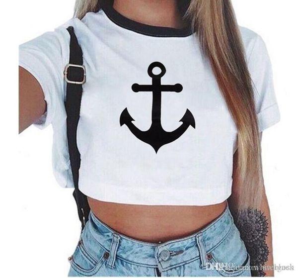 Großhandels-Frauen Sommer Anchor Crop Top Frauen Kurzarm Baumwolle T-Shirts Casual Tees Cute Cropped Top T-Shirts für Frauen