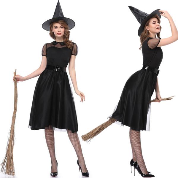 Bruxa preta Traje de Halloween Malha Sexy Trajes Da Bruxa Mulheres Adultas Partido Carnaval Da Rainha Cosplay Performances Vestido Extravagante
