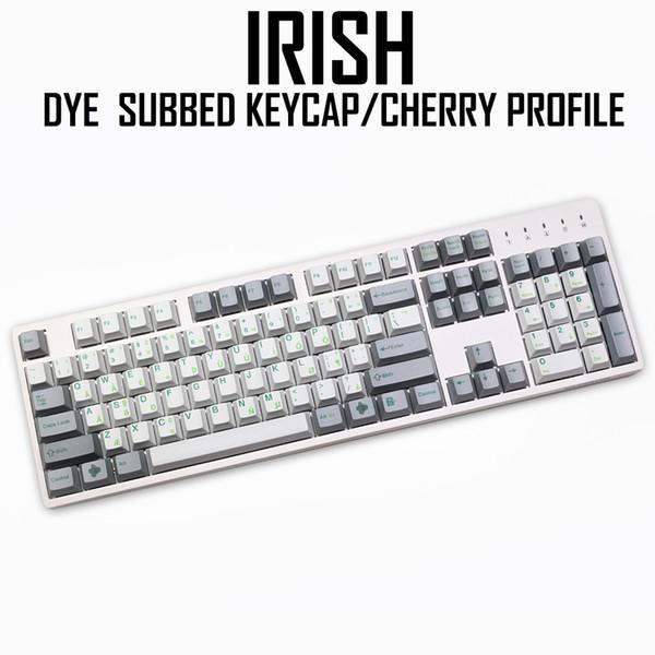 Cherry Profile Dye Sub Keycap Set PBT Plastic Green Irish Layout White Grey  Colorway For Gh60 Xd64 Xd84 Xd96 Tada68 87 104 Play Keyboard Online