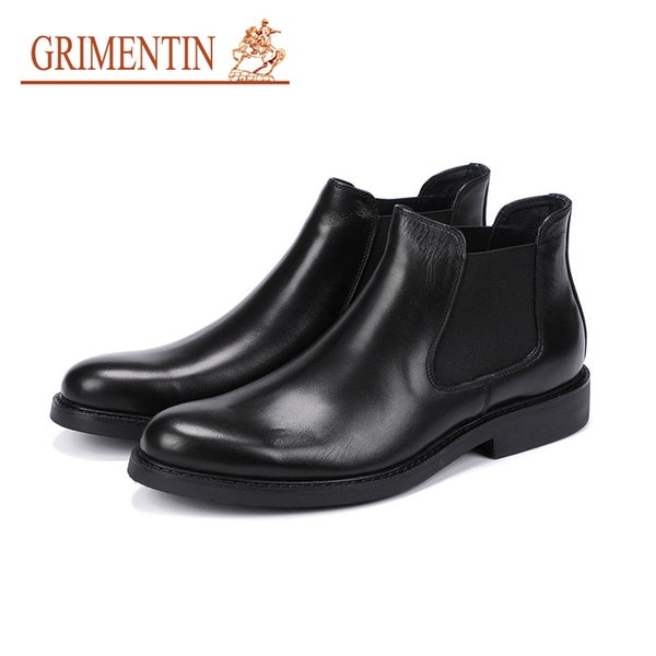 Grimentin Hot Sale Italian Fashion Mens Ankle Boots Genuine Leather Suder Formal Business Mens boots High Quality Dress Black Mens Shoes RCB